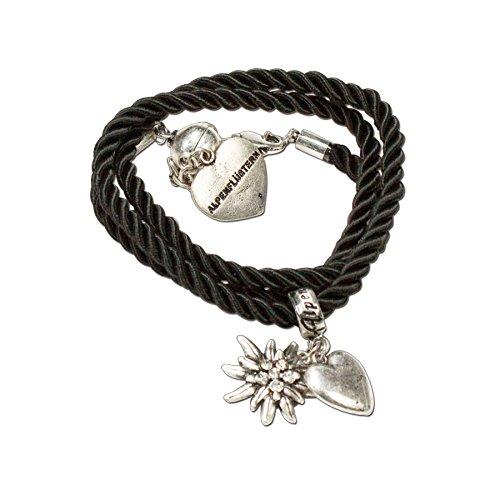 Trachtenschmuck Trachten-Kordelarmband Strass-Edelweiss (Schwarz) - Damen Dirndl Armband, Wickelarmband Oktoberfest