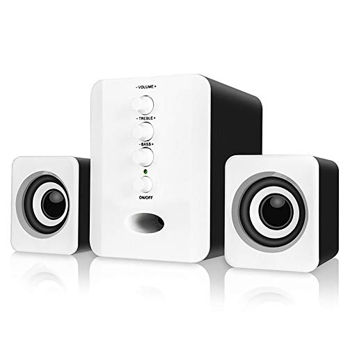 Haut-Parleur Ordinateur, USB 2.1 3D Effet Surround Mini Subwoofer Haut-Parleur Intégré Bluetooth 4.2 Convient pour Téléphone Mobile/Portable/PC/DVD,B