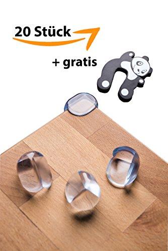 Premium Eckenschutz/Kantenschutz 20 Stück (aus Kunststoff) + GRATIS Finger Klemmschutz für ihre Baby's und Kinder- Der beste Stoßschutz für Tisch- und Möbel-Ecken (transparent)