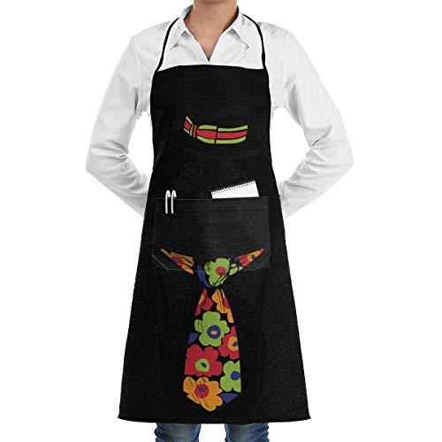 Panda Cartoon Kostüm - dfgjfgjdfj Fashion Cartoon Panda Schürze Lace Adult Mens Womens Chef Adjustable Polyester Long Full Black Cooking Kitchen Schürzes Bib with Pockets for Restaurant Baking Crafting Gardening BBQ Grill