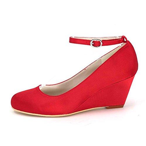 Ei&iLI Scarpe da sposa delle donne rotonde Tacchi Toe scarpe da sera fibbia banchetti damigella d'onore EU36-EU43 Rose