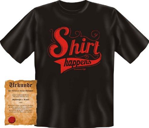 bedrucktes Karneval T-Shirt + Urkunde: Shirt happens - coole lustige Fasching Herren Shirt Fastnacht Fun Geschenk Schwarz