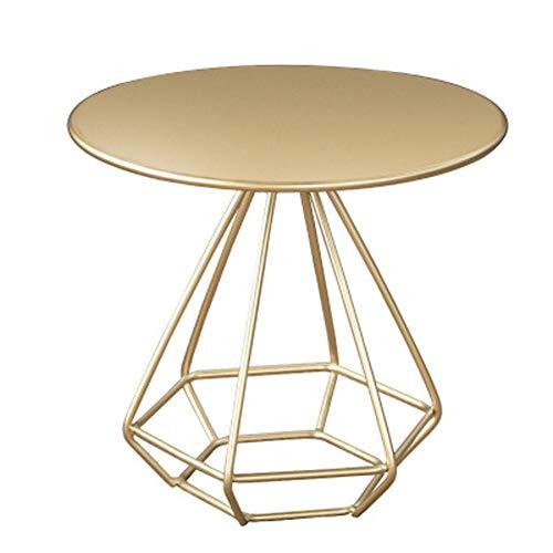 CZWYF Nordic Einfache Schmiedeeisen Couchtisch , Wohnzimmer Sofa Kleine Beistelltisch Schlafzimmer Mini Runden Tisch / 19,7x19,7 Zoll (Color : Metallic) -
