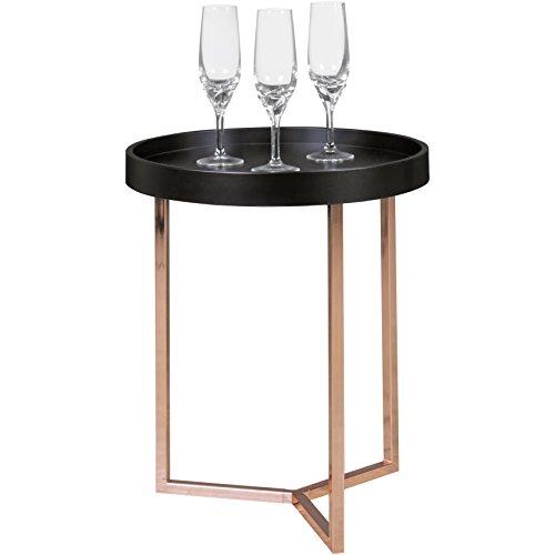 FineBuy Design Beistelltisch GIVE mit Tablett Schwarz abnehmbar 40 cm Rund Kupfer | Couchtisch Holz | Wohnzimmertisch als Tabletttisch Modern