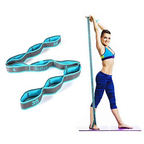DeHub Yoga Set, Yoga Stretch Gurt mit 8 Schleifen, Waschbarer, Leicht zu Tragender und Hochelastischer Gymnastik-Gur, Ideal für Heißes Yoga, Körperliche Therapie, Größere Flexibilität. (Blau)