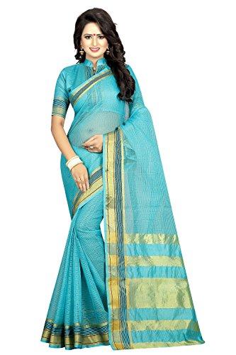sarees below 500 rupees(Perfectblue Women`s cotton Silk designer saree with blouse piece(SkyBluemagicpallu)