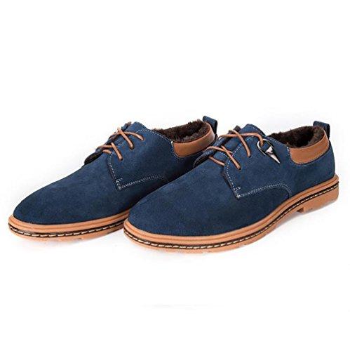 YiJee Hommes Loisir Lacets Chaussures Confort de Plein Air Chaudes Chaussure Bleu