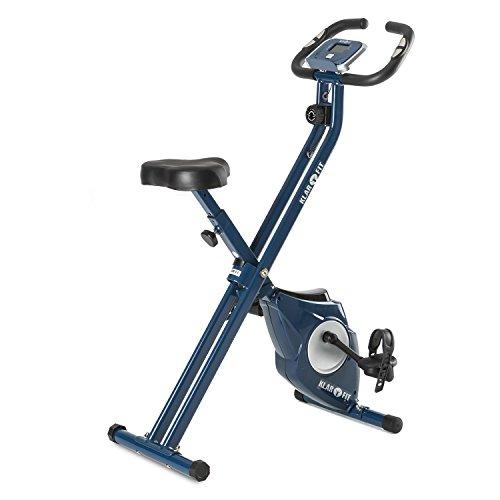 Klarfit Azura - Cyclette, X-Bike, Richiudibile, Volano 3 kg, 8 Livelli di Resistenza, Computer Allenamento, Misuratore Pulsazioni, Carico Max 100 kg, Sella Regolabile, Colore Blu