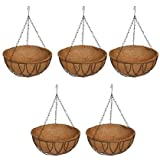 Ecopal Metal Hanging Planter Basket With Liner And Chain, 14 INCH, 5 Pieces