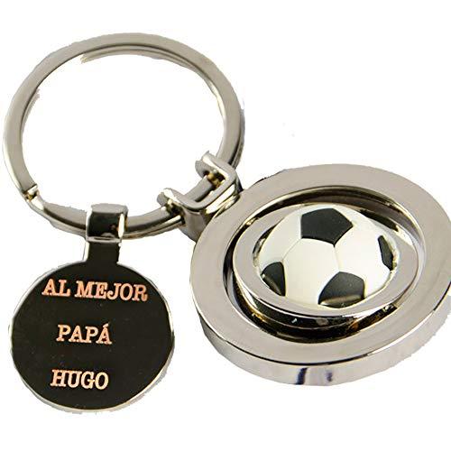 Regalo Personalizado para futboleros: Llavero con un balón de Futbol y Grabado con el Texto Que tú Quieras