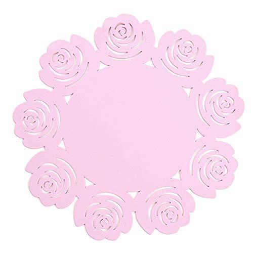 Da.Wa 1 STK Rose Tischset Rutschfest Topfmatte Küche Anti Verbrüh Tischmatte Plate Coaster Bowl Matte Pink