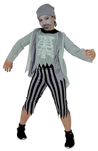 Foxxeo 40120 | Skelett Zombie Piraten Kostüm für Kinder Pirat Kinderkostüm Geister Halloween Geist Gr. 110 - 164, (Piraten Skelett Kostüm)