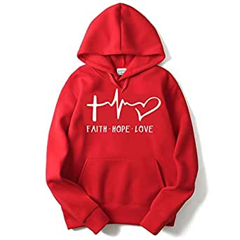 The SV Style Unisex RED Hoodie with White Print: Faith Hope Love/Printed Red Hoodie/Graphic Printed Hoodie/Hoodie for Men & Women/Warm Hoodie/Unisex Hoodie (Small)