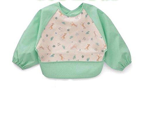 Preisvergleich Produktbild Fattonny Mode Exquiste Schürzen Baby Cute Sleeved Lätzchen Cartoon wasserdichte Art Kittel Schürze (hellgrün)