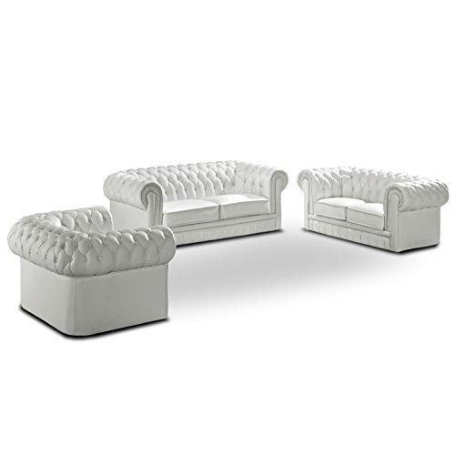 Polstersofa Chesterfield Farbwahl Sofagarnitur Sessel 3-Sitzer 2-Sitzer Couchgarnitur Echtleder mit Kunstleder