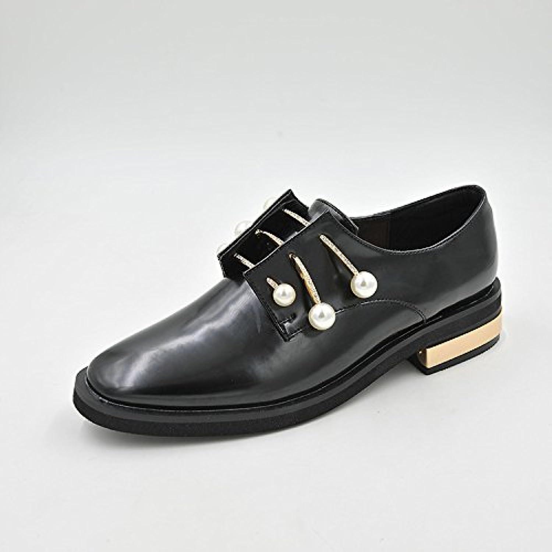 Luz de Perla Plaza primavera es baja y la luz antiniebla pintado solo zapatos de cuero, Negro,34