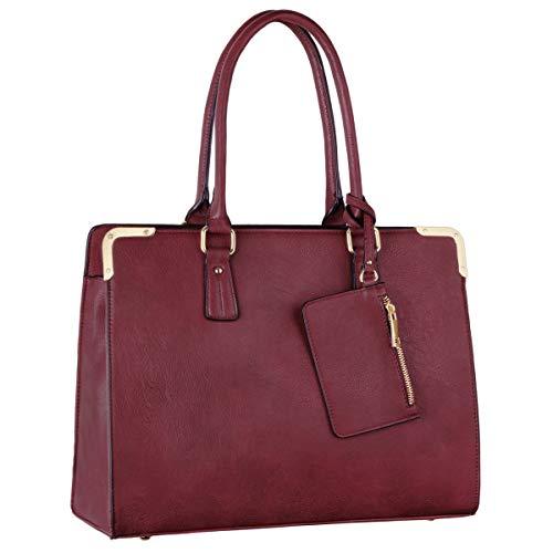 CRAZYCHIC - Damen Tote Handtasche - Large Shopper Bag PU Leder - Arbeit Schule Aktentasche Businesstasche - Umhängetasche Schultertasche Elegante - Messenger Bag Crossbody Tasche - Bordeaux Rot -