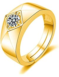 Exclusive Limited Edition 24KT Gold Swarovski Solitaire Adjustable Mens Rings - B078Q2T3PG