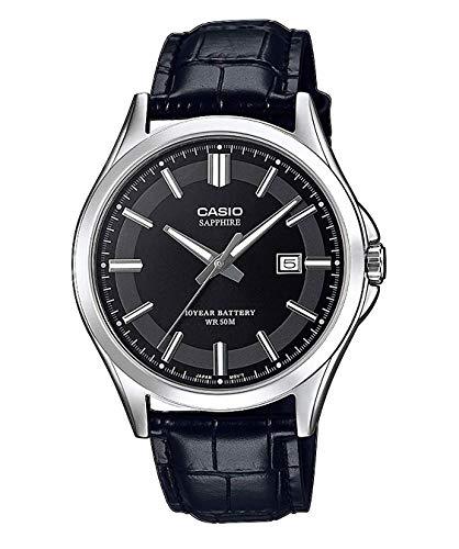 CASIO Herren Analog Quarz Uhr mit Leder Armband MTS-100L-1AVEF