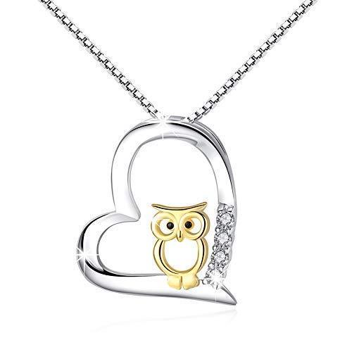 925 Sterling Silber Two Tone Eule Herz Anhänger Halskette Schmuck für Frauen Mädchen (Eule-1)