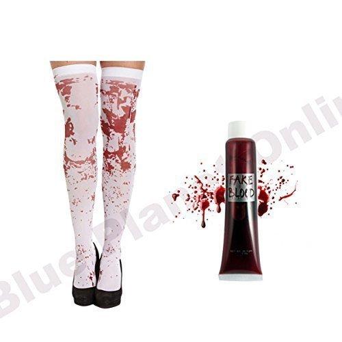 Blutflecken Strümpfe & Künstliches Blut Rohr Zombie Schulmädchen Halloween Kostüm (Zombie Schulmädchen Halloween)