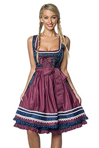DirndIine Premium Damen Dirndl Trachten Kleid Ornament mit Schürze Spitze Geblümt Spitze Dunkelrot Blau