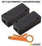 odedo® SET 2x LSA Verbindungsmodul inkl. 1x Auflegewerkzeug für Cat 7 und Cat 6A (auch Cat 5e), LSA Verbinder zum Reparieren, Verlängern von Netzwerkkabeln und Verlegekabeln, Connection Box, metallisiert (2)