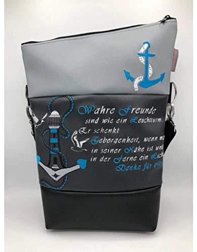 Handtasche Anker Maritim Leuchtturm Freunde Tasche Foldover Schultertasche