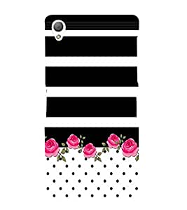 Fiobs Designer Back Case Cover for Sony Xperia Z3 Compact :: Sony Xperia Z3 Mini (Black Kala Stripes Lines White Dots)