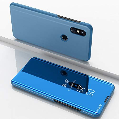 Custodia® Espejo Chapado Transparente View Stand Función Flip Funda para Xiaomi Mi Mix 3 (Cielo Azul)