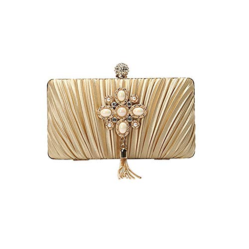 ETH Damen Samt Bankett Clutch Perle Strass Dekorativ Plissee Umhängetasche Umhängetasche Fashion Hochzeit Abendtasche Schwarz/Rot dauerhaft (Farbe : Gold) -