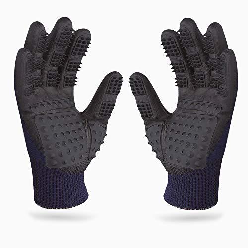 PEGACARE Premium Fellpflege Handschuhe S,M,L,XL - optimale Tierpflege für Pferd, Hund und Katze. Die durchdachte Alternative zur Tierhaar Bürste. Genieße das Kuscheln mit Deinem Vierbeiner! (L, blau) -