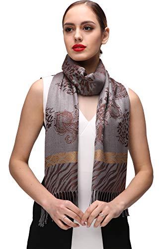 Shmily Girl Damen Schultertuch Stola - Eleganter Pashmina Schal mit floralem Muster in vielen Farben (One Size, Braun-c064)