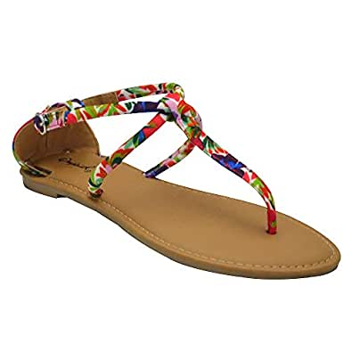f50342da4668 Qupid Athena-1304 Womens Tassel Wrapped Gladiator Sandals  Amazon.co ...