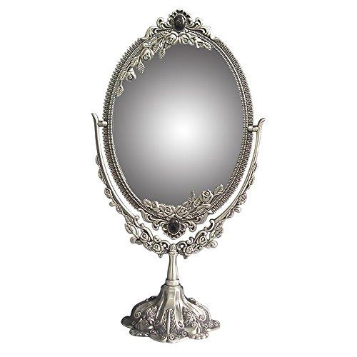 KINGFOM&Trade; Drehenden Kreisförmigen Doppelseitiger antik Kosmetikspiegel (Standard Size, Antique Pewter) - Antique Pewter Base