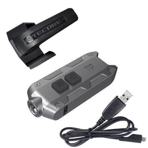 Nitecore TIP XP-G S3 Schlüsselanhänger mit USB-Kabel und Clip, wiederaufladbar, Hellgrau -