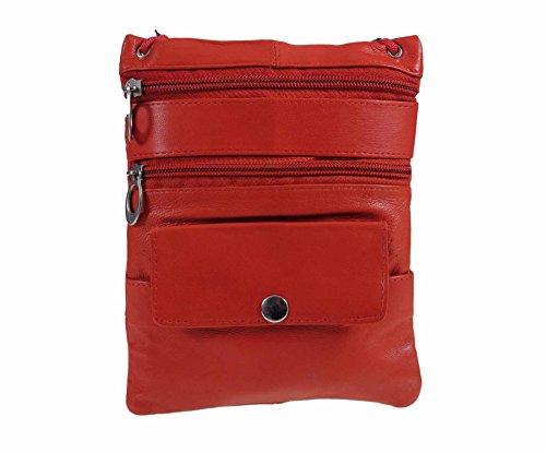 Echtes Weiches Leder Hals Passport Halter/Tasche und Geldbörse 1306 Tan 1306 Red