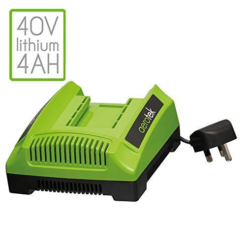 Aerotek Tondeuse à gazon sans fil avec batterie lithium-ion de 40V - Largeur de coupe 40cm Spare Battery Charger vert/noir