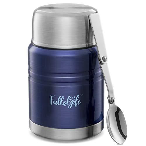 Fullalyfe ® Isolierbehälter aus Edelstahl (500 ml) - Food Flask - Praktischer Thermobehälter für Essen - Vacuum Warmhaltebox - Thermobecher für Suppe - Food Thermos - Thermo Lunchbox (Dunkelblau)