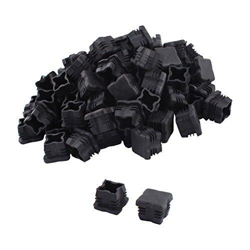 DealMux Jambes Plastique pour Meubles Protection Tubes carrés du Tuyau du Tube Embouts Caps 25 mm x 25 mm 100pcs Noir