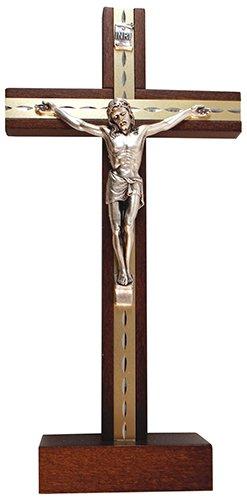 Biblegifts stehend Kruzifix 24,1cm 24cm Dunkles Holz Metall Inlay Corpus Christi Jesus Kreuz aus ideal für Nonnen, Mönche, Prediger, Priester oder Minister. In Geschenkbox
