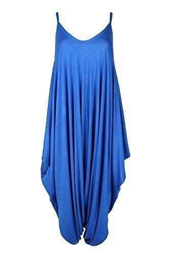 Neuf Pour Femmes Cami Camisole Fin Lanière À Lanières Lagenlook Barboteuse Sarouel Baggy Combinaison Bleu Roi