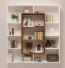 Idea Regalo - VENUS Libreria - Scaffale per libri - Scaffale per ufficio / soggiorno dal design moderno (Bianco / Noce)