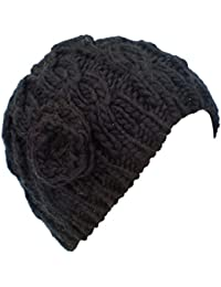 3342ae56b2c017 Ladies Cable Knit Beanie Hat with Crochet Rose BLACK