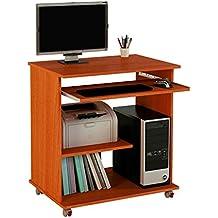 Meka-Block K-1250C - Mesa de ordenador multimedia, 74 cm de ancho, color cerezo