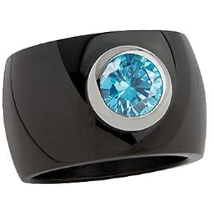 """Edelstahlring """"Blink"""" 15mm schwarz pol. mit blauem Zirk. (SR1002B-6)"""