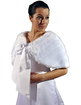 Cape de novia estola con lazo, imitación de visón