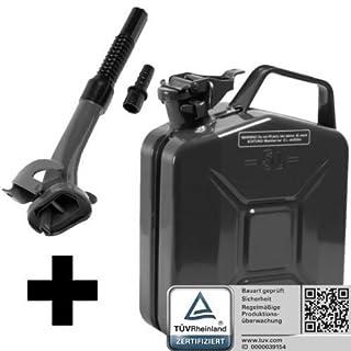 Oxid7® Benzinkanister Kraftstoffkanister Metall 5 Liter schwarz mit UN-Zulassung inkl. Ausgießer - TÜV Rheinland Zertifiziert - Bauart geprüft - für Benzin und Diesel