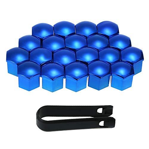 KKmoon Copriruota per Auto, 20 Pezzi Tappi per Dado da 17 mm Universali Cappucci per Dadi Vite Protector, Blu