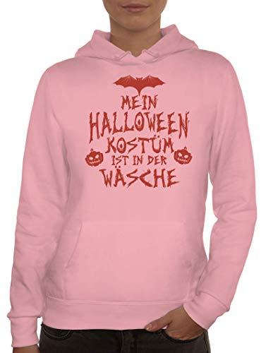 ShirtStreet Grusel Gruppen Damen Hoodie Frauen Kapuzenpullover Mein Halloween Kostüm ist in der Wäsche 3, Größe: XL,rosa